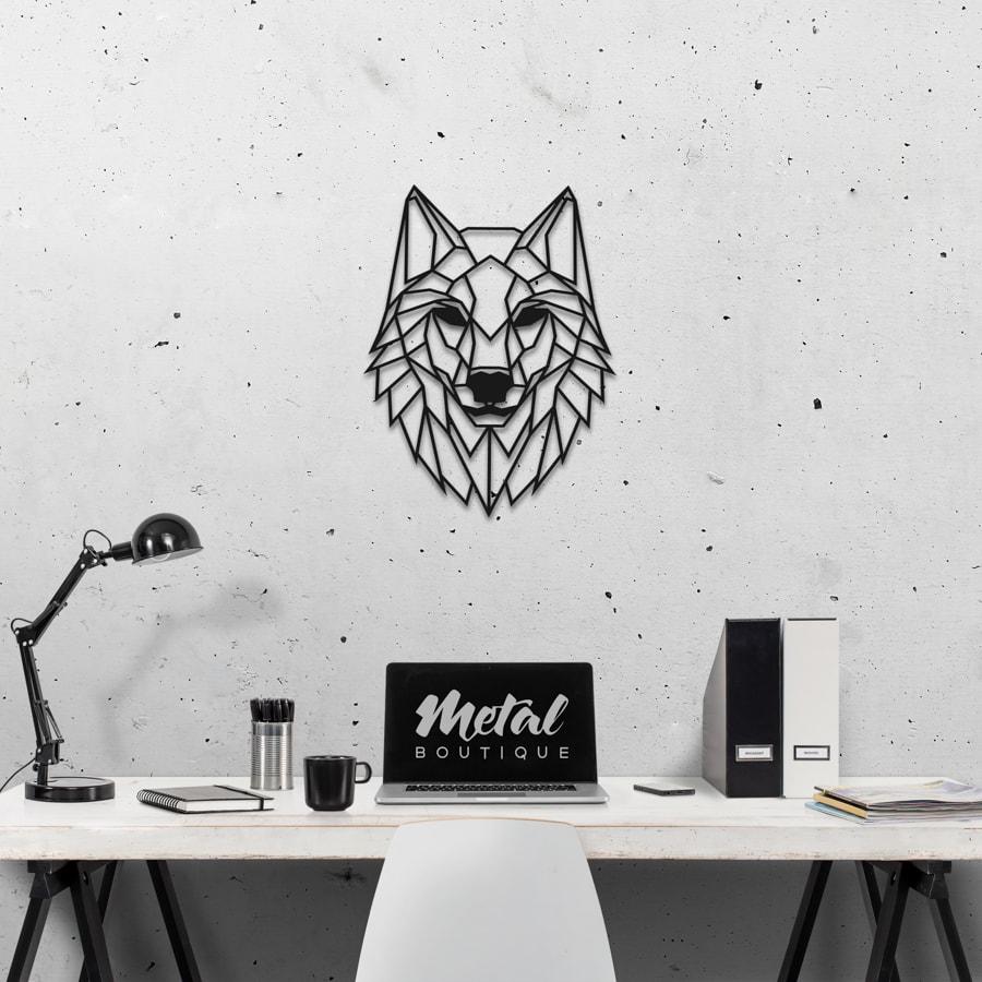Волк: металлическое панно на стену