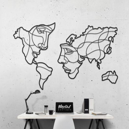 Карта Мира Faces: декоративное панно из металла