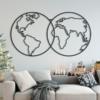 Карта Мира Globe: настенное украшение из металла на стену