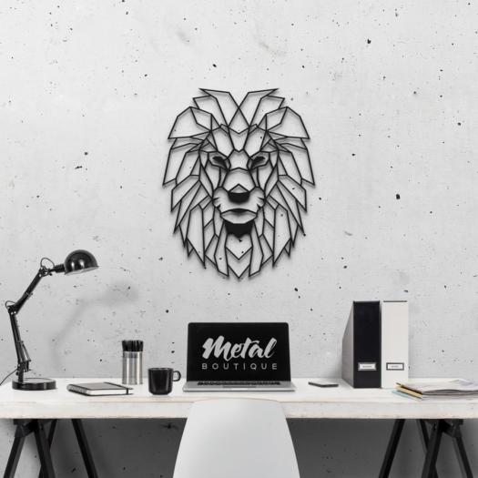 Лев: декор из металла на стену