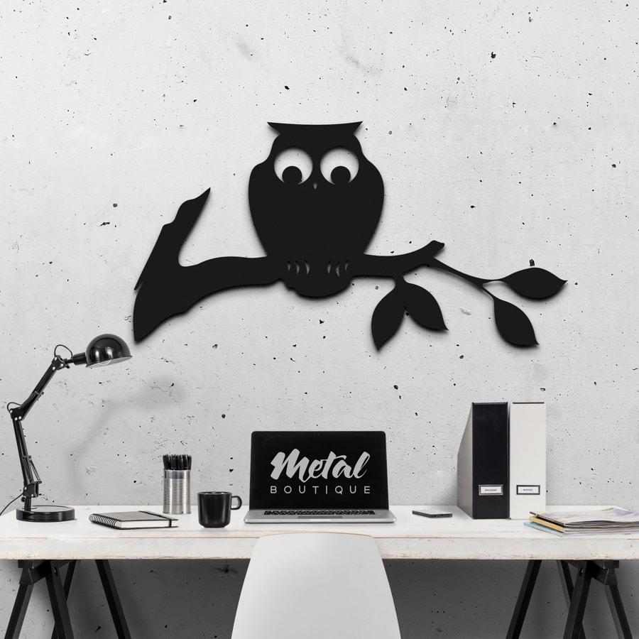 Сова: декор из металла на стену