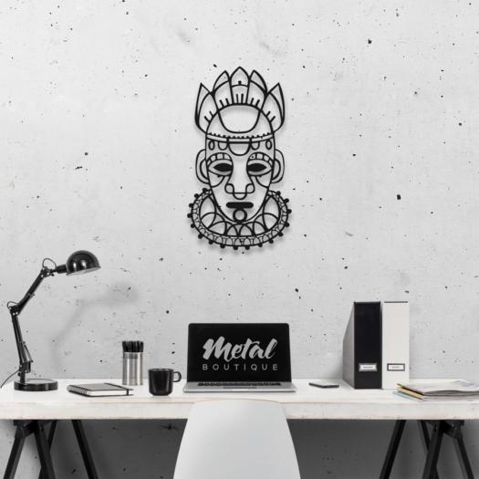 Этническая маска Voodoo: настенный декор из металла