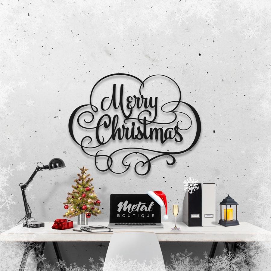 Надпись Merry Christmas: слово из металла